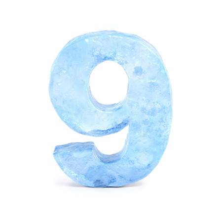 Ice font 3d rendering, number 9
