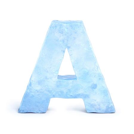 Font di ghiaccio, rendering 3D, lettera A
