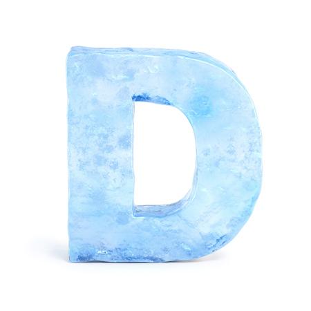 Ice font 3d rendering, letter D