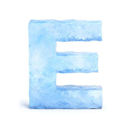 Ice font 3d rendering, letter E