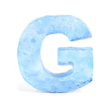 Ice font 3d rendering, letter G