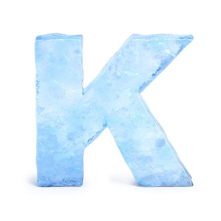 Ice font 3d rendering, letter K