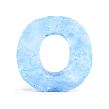 Ice font 3d rendering, letter O