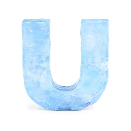 Ice font 3d rendering, letter U