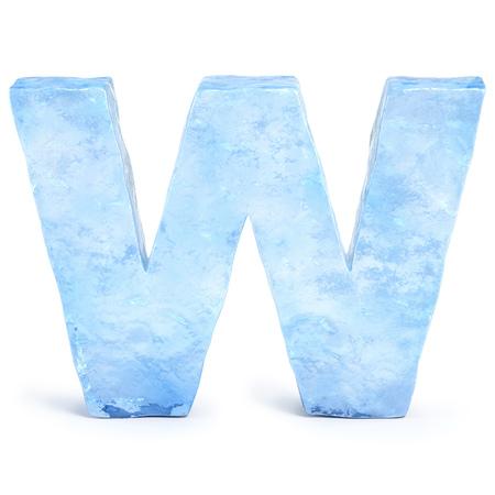Ice font 3d rendering, letter W