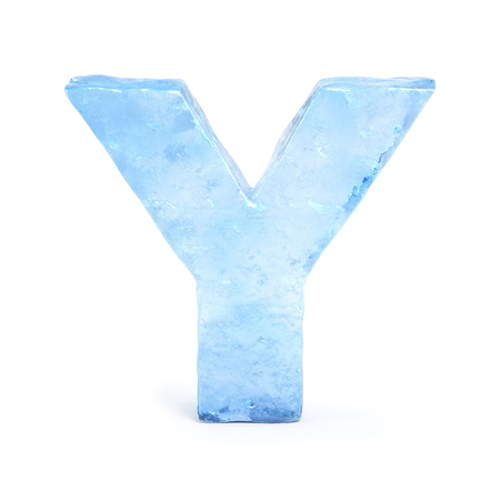water alphabet: Ice font 3d rendering, letter Y Stock Photo