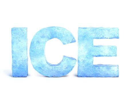 얼음으로 만든 단어 얼음 3d 렌더링