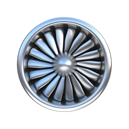 Jet engine front view 3d rendering