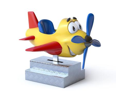 Kiddie ride cartoon airplane 3d rendering