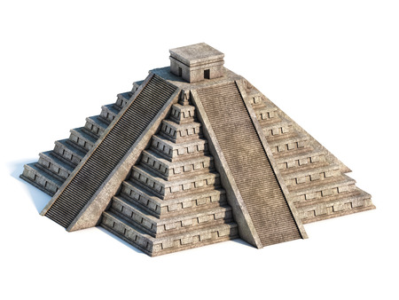 Mayan pyramid front view 3d rendering
