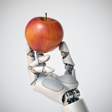 Robotachtige hand die een appel het 3d teruggeven houdt Stockfoto