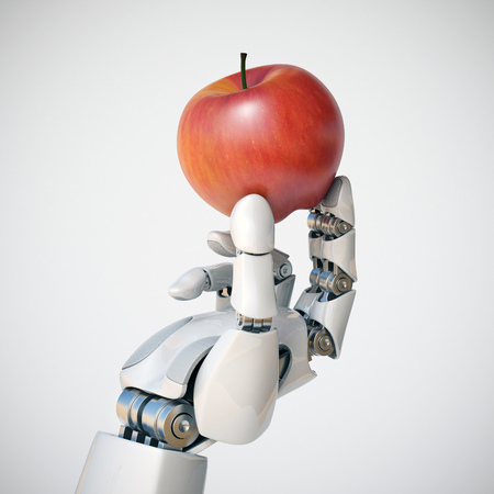 Robotic hand holding an apple 3d rendering