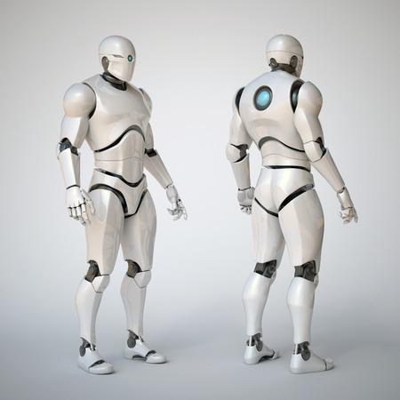 thinking machines: Robot futuristic design concept 3d rendering illustration