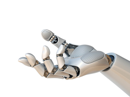 Robot hand reaching gesture or holding object 3d rendering