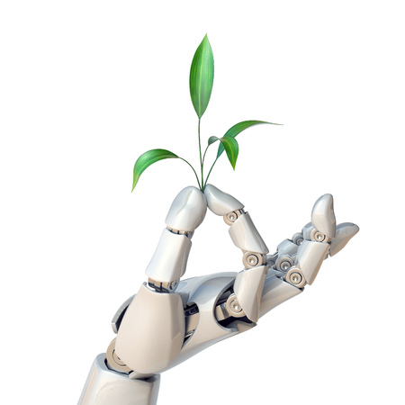 Mano de robot que sostiene la planta, vida sintética, concepto de ingeniería genética, representación 3D Foto de archivo - 88979883