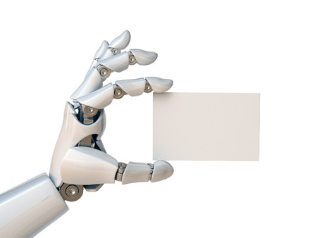 Robot hand holding a blank business card 3d rendering Archivio Fotografico