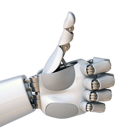 Robot hand thumbs up 3d rendering isolated illustration