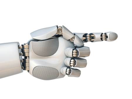 Robot hand pointing with index finger 3d rendering isolated illustration