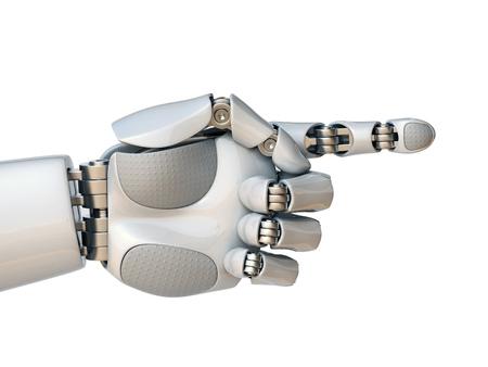 Robothand die met wijsvinger 3d teruggevende geïsoleerde illustratie richten Stockfoto