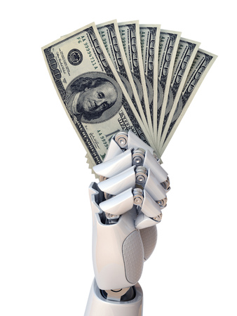 Robot hand holding dollar bills 3d rendering isolated illustration