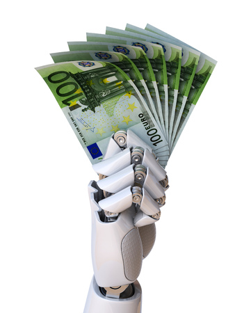 arms trade: Robot hand holding euro bills 3d rendering isolated illustration Stock Photo