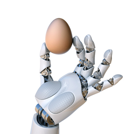 Robot hand holding the egg 3d rendering isolated illustration Stock Photo