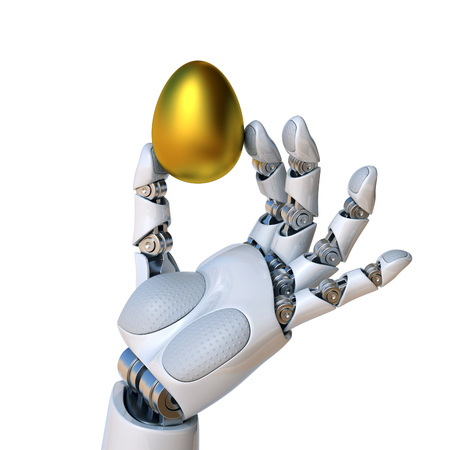 Robot hand holding the golden egg 3d rendering isolated illustration Stock Photo
