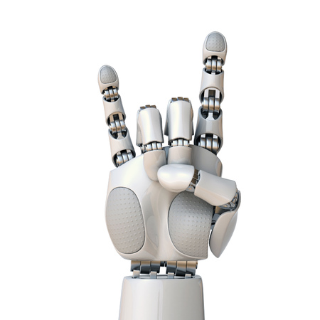 Robot hand gesturing a rock and roll sign 3d rendering isolated illustration
