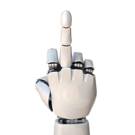 Robot hand showing middle finger 3d rendering isolated illustration