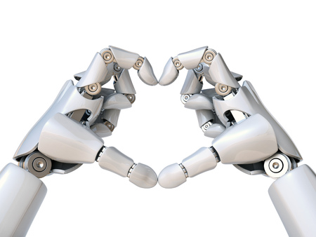 Robot hands form heart shape 3d rendering isolated illustration 스톡 콘텐츠