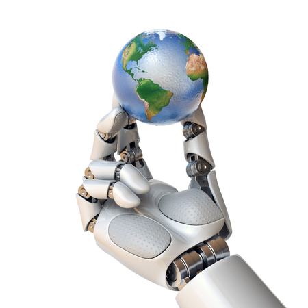 Robot hand holding planet Earth 3d rendering isolated illustration