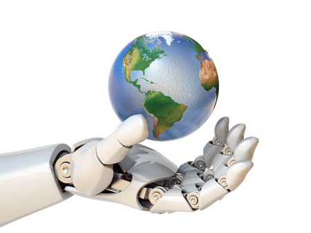 Robot hand holding planet Earth 3d rendering isolated illustration Фото со стока - 88979922