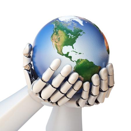 Die Roboterhand, die Wiedergabe der Planet Erde 3d hält, lokalisierte Illustration