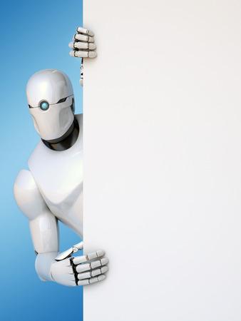 Robot holding blank advertising billboard 3d rendering Reklamní fotografie