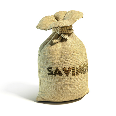 ganancias: Dinero, saco, efectivo, con, ahorros, representación 3d, aislado, ilustración