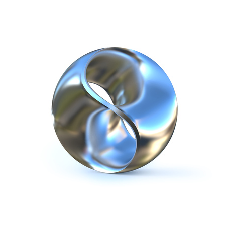 Metallic abstract sphere isolated 3d illustration