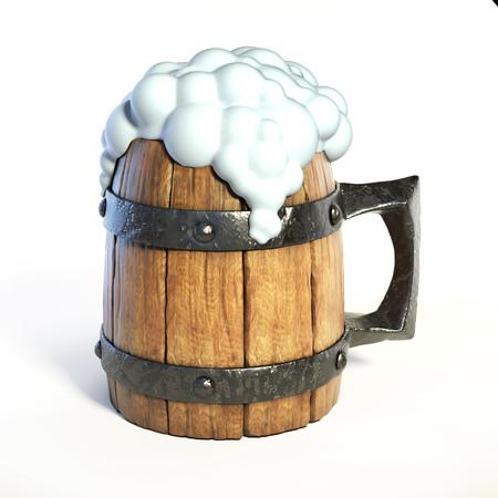 Wooden mug, tankard 3d rendering isolated illustration