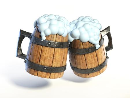 Pair of wooden mugs, tankard 3d rendering