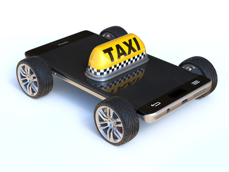 Mobile phone with taxi sign and wheels, taxi app 3d rendering Stock Photo