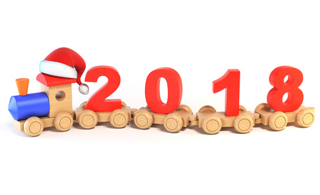 Christmas or New Years wooden toy train, numbers 2018 as railroad cars 3d rendering Stock Photo