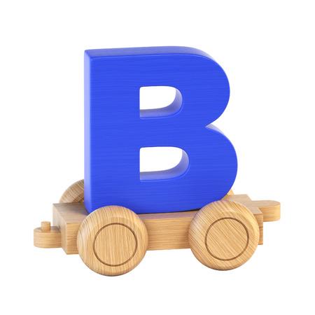 Train font on wheels letter B 3d rendering
