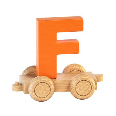 Train font on wheels letter F 3d rendering