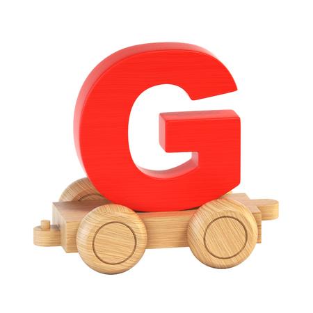 Train font on wheels letter G 3d rendering Stock Photo