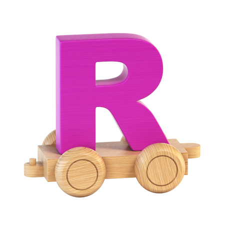 Train font on wheels letter R 3d rendering