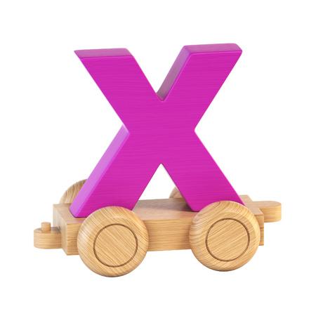 Train font on wheels letter X 3d rendering Stock Photo