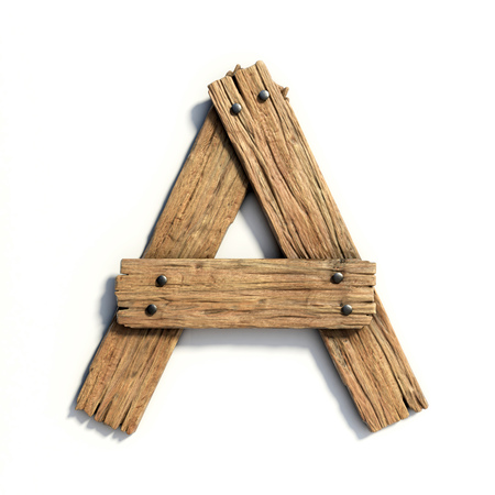 Wood font, plank font letter  A Stock Photo
