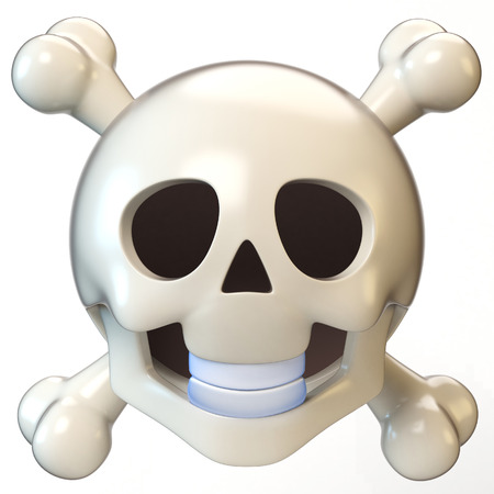Skull face emoji isolated on white background, dead emoticon 3d rendering