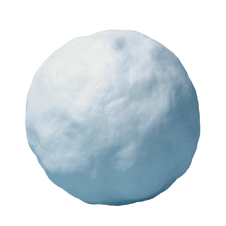 Snowball isolated on white background 3d rendering