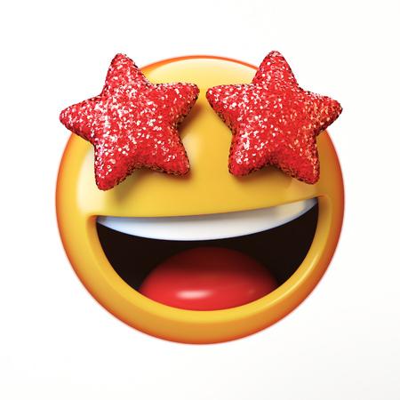 Emoji van sterogen op witte achtergrond, betoverende emoticon het 3d teruggeven wordt geïsoleerd die