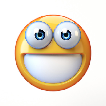 Smiling emoji isolated on white background, teeth emoticon 3d rendering Standard-Bild